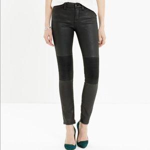 Madewell Skinny Coated Moto Jeans